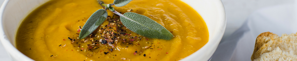 Main image for Recipe of the Week: Acorn Squash Soup blog post.